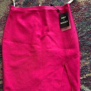 NBD x Maven hot pink mini skirt - size medium